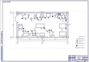 Чертеж технологической планировки участка ремонта газораспределительного механизма (формат А1): 6х12 м, площадью 72 кв.м.
