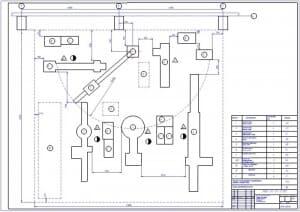 Чертеж технологической планировки участка для сборки ходовых тележек строительных и дорожных машин (на примере трактора Т-130) для ремонтно-механического завода (формат А1)