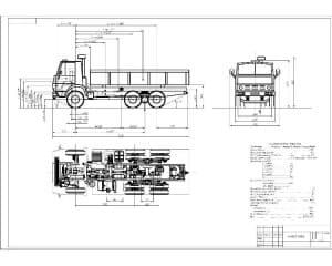 Чертеж вида общего автомобиля КАМАЗ-53212