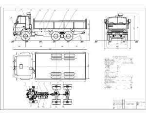 Чертеж общего вида автомобиля КАМАЗ-55102 с разработкой схемы трансмиссии