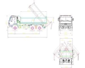 Чертеж общего вида самосвала  на базе КамАЗ в различных проекциях – виды сбоку, спереди и сзади, с указанными габаритными размерами (формат А1)