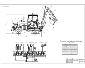 Чертеж общего вида экскаватора ЭО2621 (формат А1), с техническими характеристиками