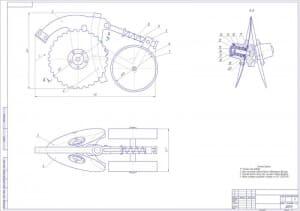 Сборочный чертеж сошника сеялки с указанными размерами для справок и с техническими требованиями