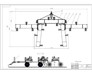 Чертеж сцепки сельскохозяйственного назначения с указанными  габаритными размерами и для справок (формат А1)