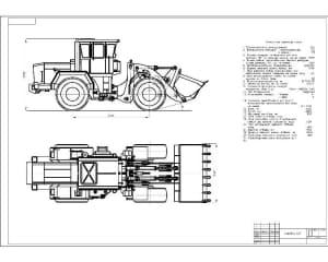 Чертеж вида общего трактора Кировец-702 (формат А1), с техническими характеристиками