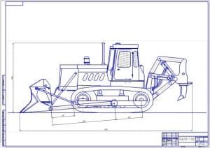 Чертеж трактора Т-130Г (формат А1) с габаритными размерами