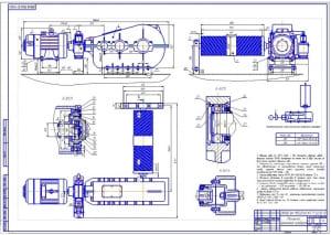 Чертеж сборочный механизма замыкания грейфера (формат А1)