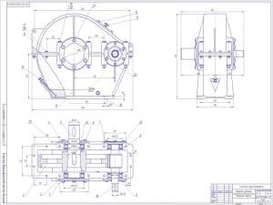 1.СБ редуктора зубчатого цилиндрического одноступенчатого.  Изображены на чертеже три проекции и обозначены размеры, посадки, уровень масла. (формат А1)