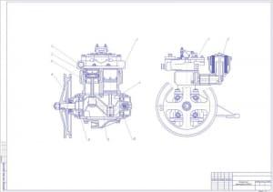 Сборочный чертеж компрессора грузового автомобиля КАМАЗ в двух проекциях – виды сбоку и спереди (формат А1)