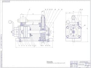 Чертеж приспособления для подгонки по весу малой головки шатуна с техническими условиями: 1. Усилие зажима 800Н; 2. Неперпедикулярность оси пальца к базовой плоскости max 0,05. Технологический процесс механической обработки шатуна в сборе двигателя ЗиЛ-13