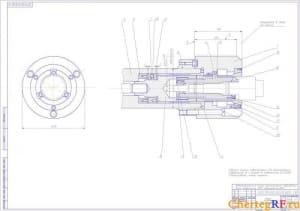 Чертеж в программе Компас 3D V:  сборочный патрона мембранного типа  с обозначением составных единиц и деталей