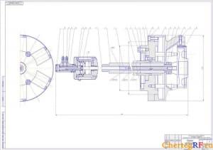 Представлен чертеж патрона мембранного для технологического процесса обработки шестерни четвертой передачи вала промежуточного коробки передач в автомобиле ЗИЛ-130