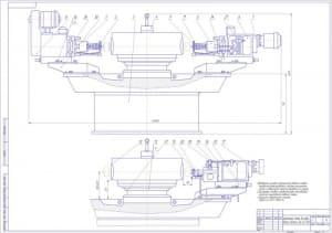 1.Сборочный чертеж агрегатного станка для закрепления агрегатов Д6-02-801 при их разборке в масштабе 1:5