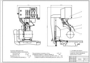 Чертеж общего вида плазменной установки в двух проекциях, с габаритными размерами и позициями сборочных узлов и деталей: плазмотрон, защитный кожух, кронштейн, главный механизм, бункер (формат А1)