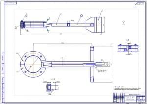 Сборочный чертеж индуктора для закалки деталей токами высокой частоты, в масштабе 1:1