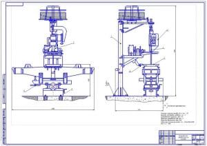 Чертеж общего вида в двух проекциях установки для автоматической наплавки подпятниковых мест надрессорных балок, в масштабе 1:75