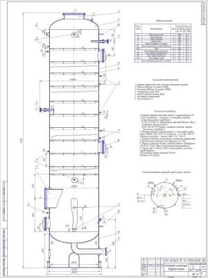1.Общий вид аппарата колонного тарельчатого с перечислением технических требований