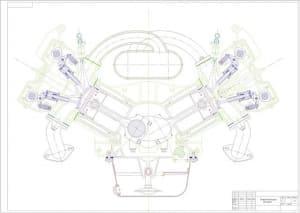 Чертеж вид общий двигателя V6-120
