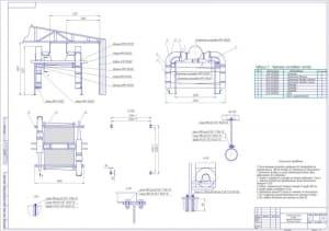 Монтажный чертеж установки для сушки кузовов грузовых автомобилей в масштабе 1:50 на формате А1
