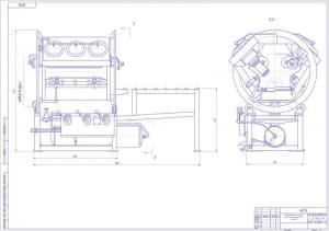 Общего вида чертеж стенда для гидравлического испытания блоков цилиндров V-образных двигателей автомобилей ЗИЛ, стенд массой 460, в масштабе 1:4, в двух проекциях – виды сбоку и спереди, с указанием размеров  (формат А1)
