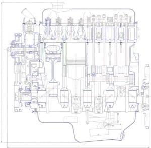 Чертеж вид общий двигателя ВАЗ 2101
