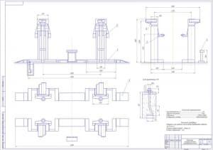 Сборочный чертеж в трех проекциях стационарного четырехстоечного электромеханического подъемника в масштабе 1:20 на формате А1. Технические характеристики