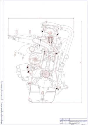 чертеж разрез поперечный двигателя ВАз-2109 (формат А1)