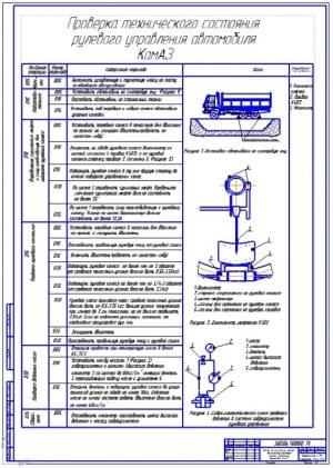 Чертеж технологической карты проверки технического состояния рулевого управления автомобиля КамАЗ (формат А1)