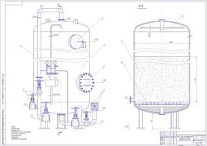 Сборочный чертеж Na-катионитного фильтра второй ступени ФИПall-1.0-0.6- Na, в масштабе 1:10, с указанием корпуса, нижнего люка, верхнего люка, отборных точек и маноматр, арматуры управления, распределителя, катионита и дренажного устройства  (формат А1)