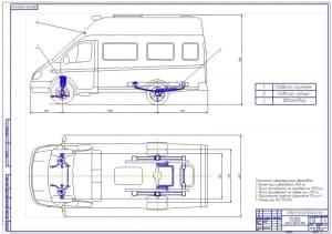 Чертеж общего вида в двух проекциях малотоннажного автомобиля ГАЗ-322132 (формат А1)