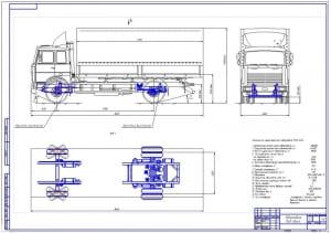Чертеж общего вида грузового автомобиля МАЗ-5340 (формат А1) с детальной прорисовкой передней и задней подвесок