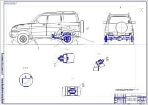 Чертеж общего вида легкового автомобиля УАЗ-3163 (Патриот)  (формат А1)