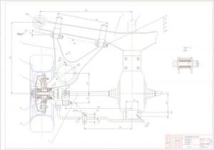1.Сборочный чертеж задней подвески на косых рычагах легкового автомобиля (формат А1)