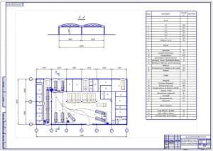 Планировочный чертеж технологической разработки производственного корпуса автотранспортного предприятия (формат А1), 72х36 метров, площадью 2592 кв.м.