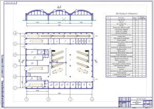 Чертеж проектирования плана производственного корпуса предприятия автомобильного транспорта  для обслуживания и ремонта на 40 автобусов ЛиАЗ-5256 и 60 автобусов Икарус-260 с габаритными размерами 72х60 метра и площадью 4320 кв.м. (формат А1)