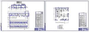 Чертеж проектирования планировочного решения производственного корпуса автоколонны с автобусным парком автобусов малого класса Богдан А092 (формат А1х2)