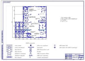 Чертеж плана производственного корпуса (ПК) 48х48 метров городской станции технического обслуживания автомобилей (СТОА) (формат А1)