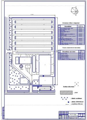 Чертеж генерального плана проекта автотранспортного предприятия (АТП) на 500 автомобилей средней грузоподъемности ГАЗ-3307 (формат А1)