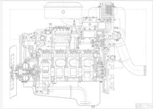Чертеж вид общий двигатель 8ЧН12 BMW