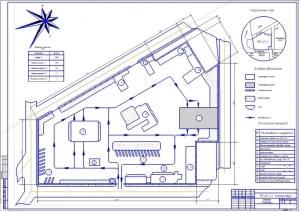 Чертеж генерального плана производственно – технической базы  грузового автотранспортного предприятия (формат А1)