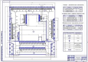 Чертеж проектирования генерального плана автосервисного предприятия для легковых автомобилей (формат А1)