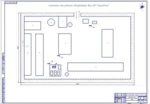 Чертеж проектирования генерального плана ремонтно-обслуживающей базы (формат А1) с розой ветров. Выполнена для курсового проекта ИМЭ.