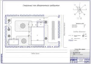 Чертеж генерального плана авторемонтного предприятия (формат А1) с показателями