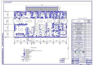 1.Чертеж технологической планировки цеха (формат А1) с расстановкой оборудования и подводом коммуникаций