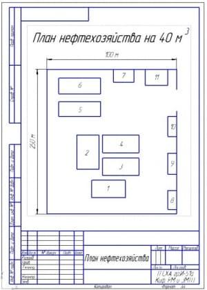 1.Чертеж плана нефтехозяйства на 40 куб.м. площадью 250 на 100 метров (формат А4)