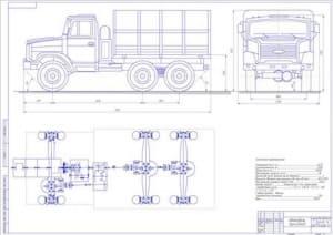 Чертеж общего вида трёхосного полноприводного (6×6) грузового автомобиля  ЗИЛ-433440 (формат А1) с габаритными размерами и техническими характеристиками