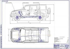 Чертеж общего вида легкового автомобиля внедорожника УАЗ-3163 Патриот в двух проекциях с габаритными размерами и прорисованной тормозной системы. УАЗ-3163 «Patriot»