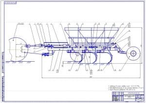 1.Общий вид комбинированного прицепного агрегата для обработки почвы с подпочвенным внесением удобрений для возделывания ячменя (формат А1)