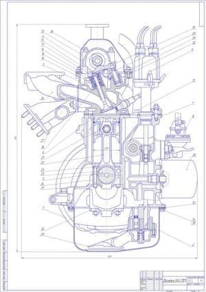 Чертеж двигателя ВАЗ-21011 в сборе плюс проставлены все размеры