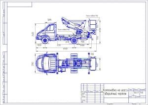 1.Габаритный чертеж компоновки на шасси Газели телескопического  подъемника - автовышки массой 768.31, в масштабе 1:40, с указанными размерами и местами подвода РВД  (формат А3)